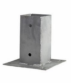 Aufschraubhülse mit Grundplatte 200x200 mm für eckige Pfosten 70x70 mm