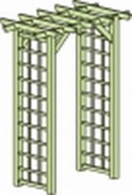 Pergola gerade 220x150x90 mit Gitter links und rechts KDI