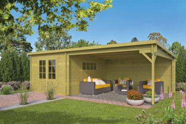 Gartenhaus Anton 40 mm 700 x 400 cm, inkl. ca. 400 x 400 cm Unterstand, imprägniertes Fichtenholz