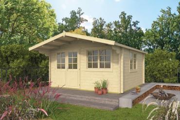 Gartenhaus Inge 44 mm 420 x 420 cm, zzgl. 120 cm Vordach, Fichte unbehandelt