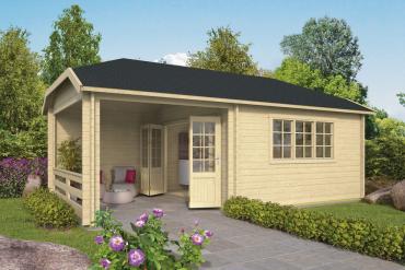 Gartenhaus Torkel 44 mm 700 x 420 cm, inkl. ca. 280 x 420 cm Unterstand, Fichte unbehandelt