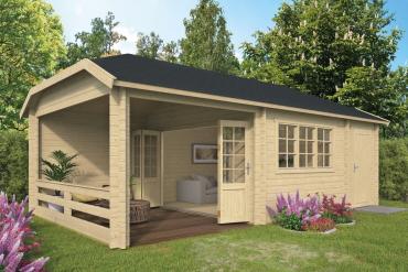Gartenhaus Viveka 44 mm 750 x 420 cm, inkl. Abstellraum und Dachunterstand, Fichte unbehandelt