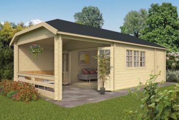 Gartenhaus Sibella 44 mm 850 x 420 cm, inkl. Abstellraum und Unterstand, Fichte unbehandelt