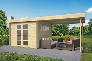 Gartenhaus Dellinger 28 mm 598 x 298 cm, inkl. ca. 300 x 298 cm Dachunterstand, Fichte unbehandelt
