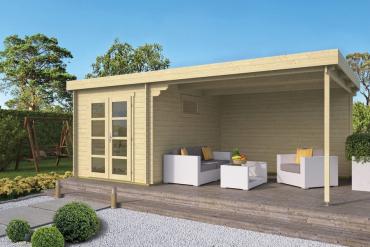 Gartenhaus Diederick 28 mm 625 x 375 cm, inkl. ca. 360 x 375 cm Dachunterstand, Fichte unbehandelt