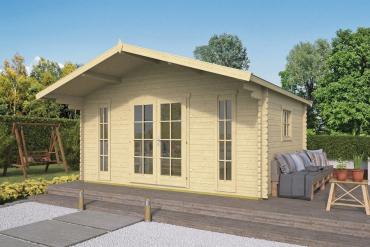 Gartenhaus Gustav 44 mm 500 x 380 cm, zzgl. 120 cm Vordach, Fichte unbehandelt