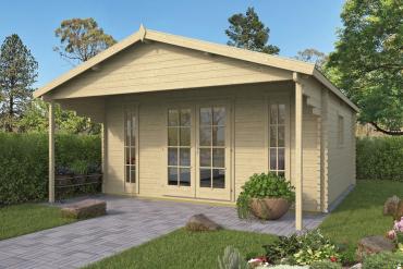 Gartenhaus Emiel 44 mm 500 x 500 cm, zzgl. 170 cm Vordach, Fichte unbehandelt