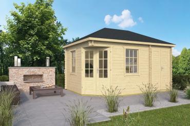 Gartenhaus 28mm  Sigrid + Vorbau  300+140x300 cm