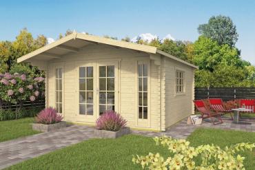 Gartenhaus Laula 44 mm 430 x 430 cm, zzgl. 100 cm Vordach, Fichte unbehandelt