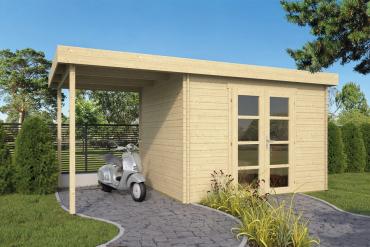 Gartenhaus Extramodern 28 mm 520 x 260 cm, davon ca. 200 x 260 cm Unterstand, Fichte unbehandelt