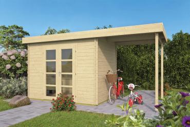 Gartenhaus  Modern Mittel 28 mm 500 x 200 cm, inkl. ca. 200 x 200 cm Unterstand, Fichte unbehandelt