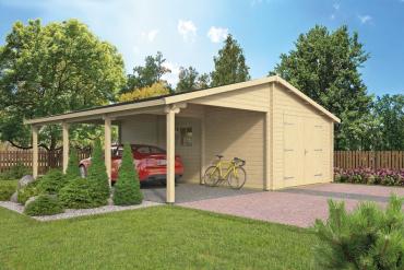 Garage Berggren 70 mm 765 x 830 cm, inkl. ca. 389 x 830 cm Carportunterstand, Fichte unbehandelt