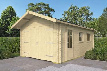 Gartenhaus/Garage Geir 44 mm 360 x 540 cm, zzgl. 50 cm Vordach, Fichte unbehandelt