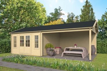 Gartenhaus Kwaspa 44 mm 800 x 400 cm, inkl. ca. 400 x 400 cm Unterstand, Fichte unbehandelt
