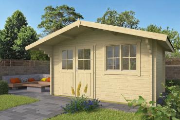 Gartenhaus Rorik 58 mm 400 x 300 cm, zzgl. 90 cm Vordach, Fichte unbehandelt