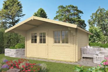 Gartenhaus Stian 58 mm 400 x 400 cm, zzgl. 140 cm Vordach, Fichte unbehandelt