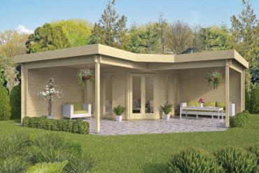 Gartenhaus Jutka 44 mm 360 x 360 cm, zzgl. 2 x Dachunterstand 298 x 360 cm, Fichte unbehandelt