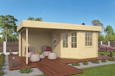 Gartenhaus Stig 28 mm 500 x 300 cm, inkl. ca, 240 x 300 cm Dachüberstand, Fichte unbehandelt