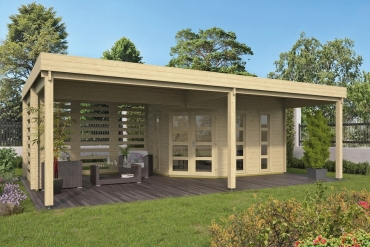 Gartenhaus 40mm  Oletha 400+385x300+210 cm