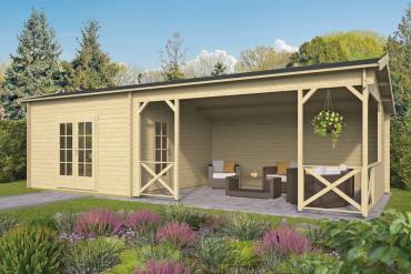 Gartenhaus 40mm  Mokka 400+500x400 cm