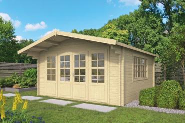 Gartenhaus Blackpool 58 mm 440 x 340 cm, zzgl. 90 cm Vordach, Fichte unbehandelt