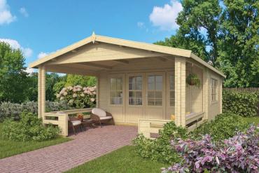Gartenhaus Leeds 58 mm 440 x 440 cm, zzgl. 90 cm Vordach, Fichte unbehandelt