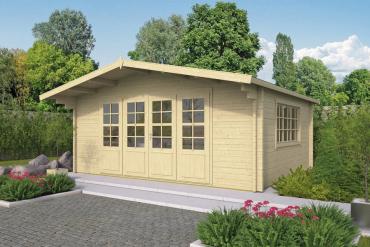 Gartenhaus Newcastle 58 mm 540 x 440 cm, zzgl. 90 cm Vordach, Fichte unbehandelt