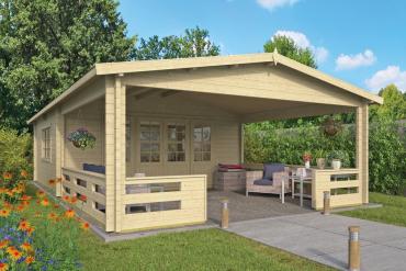 Gartenhaus Sheffield 58 mm 540 x 540 cm, zzgl. 423 cm Vordach/Veranda, Fichte unbehandelt