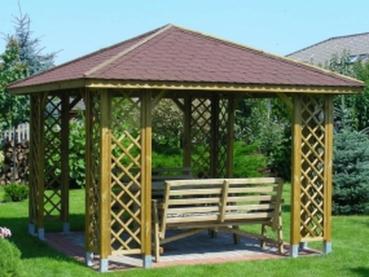 Gartenpavillon Ania mit 8 geraden Rankgittern 300x300 cm Nadelholz KDI