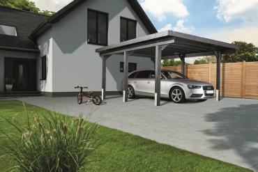 Einzelcarport mit Dach aus Holz und Bitumenunterbahn 358x504x241 cm KVH anthrazitfarbend lasiert