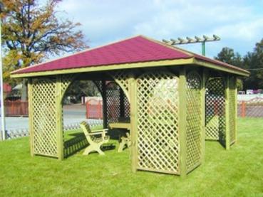 Gartenpavillon Romantika mit 8 gebogenen Rankgittern 400x400 cm Nadelholz KDI