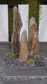 Schiefersäulen braun-bunt-rostfarbig inkl. Betonsockel 180 - 200 cm hoch