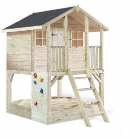 Kinderstelzenhaus Tobi 180x190x277 cm mit Veranda, Kletterwand und Sandkasten